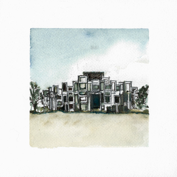 Paul Rudolph, Architecture, Watercolor, Orange County Government Center, Goshen, Brutalist, Brutalism, Concrete, Watercolor, Sketch, New York, Preservation