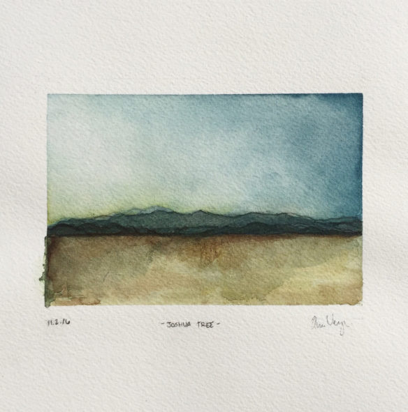 Watercolor, Joshua Tree, Mountains, California, Desert, Sky, Gradient, Landscape, Painting