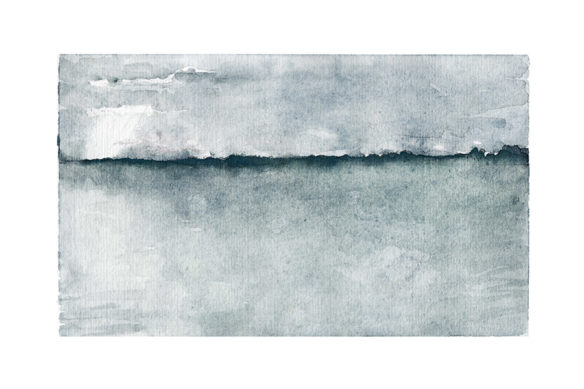 water, watercolor, landscape, blue, horizon, fog, clouds