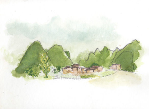 yangshuo, watercolor, mountains, china