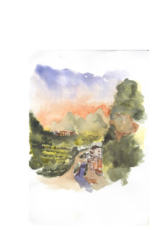 yangshuo, watercolor, china